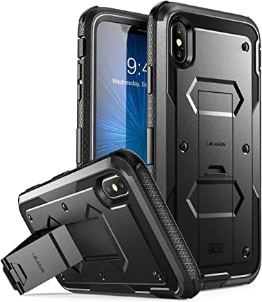 """i-Blason Case for Phone Xs Max 2018 Release, [Built in Screen Protector][Armorbox] Full Body Heavy Duty Protection Kickstand Shock Reduction Case (Black), 6.5"""""""