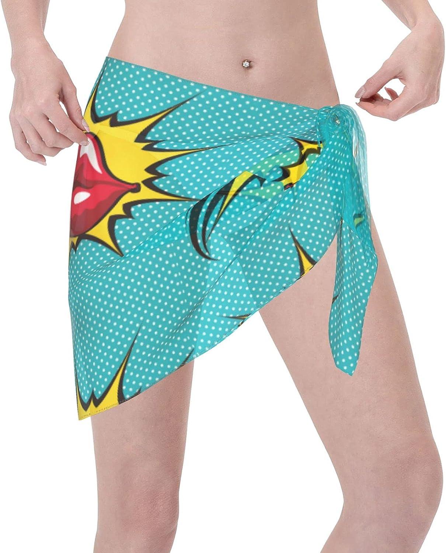 Red Lips Women Chiffon Beach Short Sarongs Cover Ups Beach Swimwear Wrap Skirt for Vocation