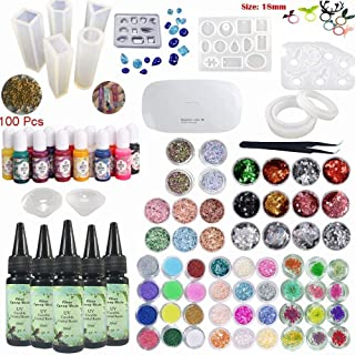Crystal Clear UV Resin Crafts Kit with Color Liquid Pigment 12 Molds for Making Pendants Earrings Rings Bracelets Diamonds Jewelry Pieces + 58 Decorations Shining Glitter Flowers + Portable Lamp