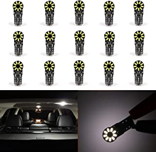 Dantoo Pack of 15 Extremely Bright T10 LED Bulbs 168 2825 W5W 194 Wedge Dome Lights 3014 Chipset 18 SMD 6000K Xenon White Light Lamp for for Car Interior Map License Plate Trunk Parking Light