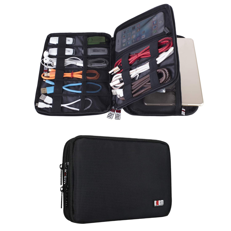 BUBM Organizador de Accesorios Eléctrica Estuche para Guardar Cables Memorias USB Bolsa con Cremallera para iPad Bolso de Doble Capas (Medium,Negro): Amazon.es: Electrónica