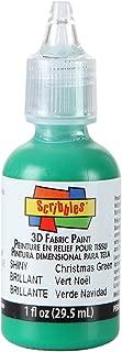 Scribbles 54133 3D Fabric Paint, Shiny Christmas Green, 1 oz