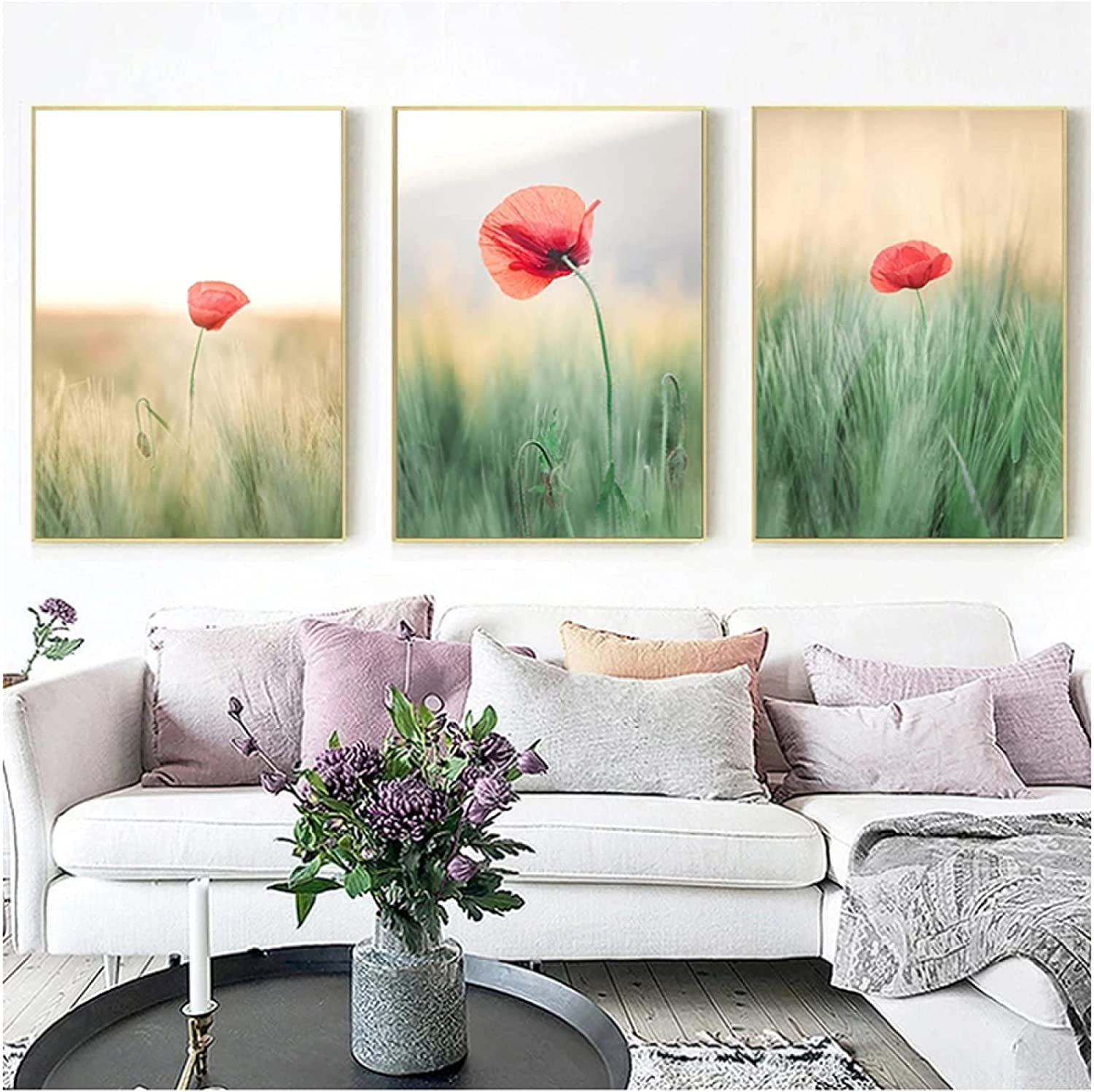 Grassland Blooming Red Flowers List price Natural Landscape Art Wall Max 53% OFF poster