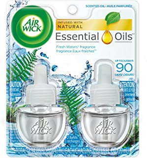 Air Wick plug in Scented Oil 12 Refills, Fresh Waters, (6x2x0.67oz), Essential Oils, Air Freshener