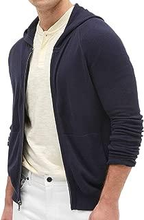 Mens Full Zip Up Raglan Sleeve Pique Hoodie Sweater Heather Navy Blue