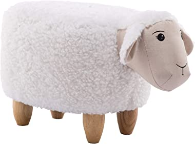 "CRITTER SITTERS 15"" Seat Height Plush White Sheep Ottoman"