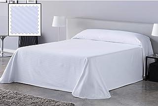 DHestia Hostelería - Colcha Cutí Blanca Hotel Tejido Mezcla Algodón/Poliéster diseño a Rayas. (250 x 270 cm - Cama 135/150)