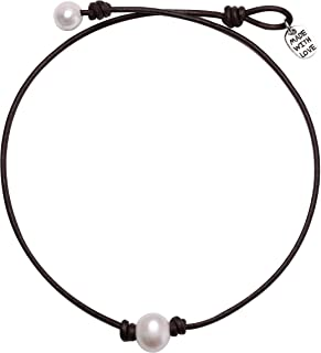 Single Cultured Freshwater Pearl Choker Necklace Handmade Genuine Leather One Bead Jewelry for Women Girls