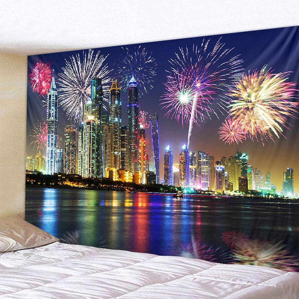 YPDWYJL 3D New color tapestry city New product type night view room bedroo fireworks living