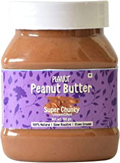 Planut Chemical Free Peanut Butter, Super Chunky, Unsweetened, 190g | All-natural, High Protein