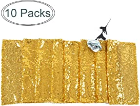 """JYFLZQ 10-Pack Sequin Table Runner Party Supplies Decor for Wedding Birthday Baby Shower (12"""" x 108"""", Gold)"""