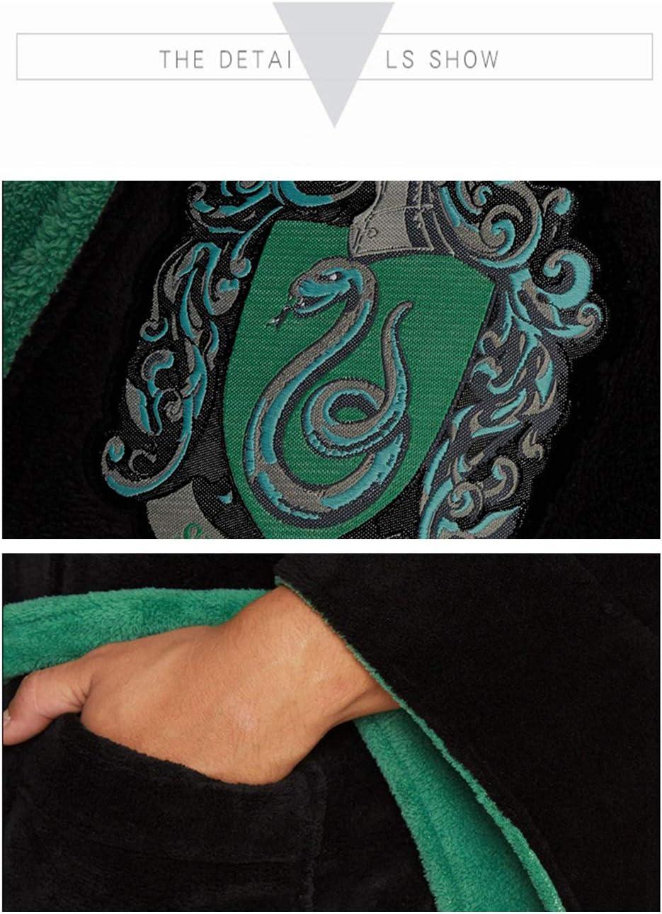 Deciduous Slytherin Fuzzy Robe Harry Hoodied Bademantel Seine und ihre Roben Wolle Pyjamas Wizard Fleece Nachthemd Kleid f/ür Erwachsene Unisex Frauen M/änner,Men,L