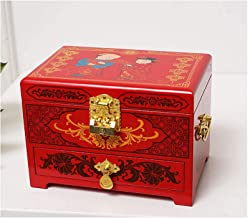 Antique Jewelry Box Oriental Wooden Jewelry Box Case Storage with Red Lacquer Mirror by Hand Painted Gift for Family Frien...