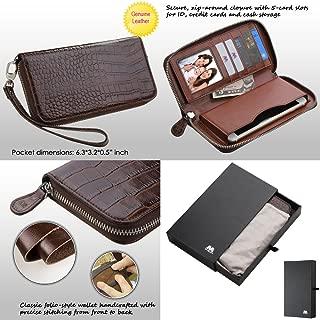 Wallet+Stylus mybat Universal Crocodile-Embossed Fits Apple ZTE Samsung Genuine/Real Leather MyJacket Purse/Case/Clutch/Pouch - Zipper Brown. Compatible Models: