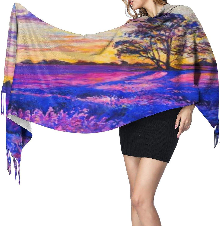 Cashmere fringed scarf Lavender landscape winter extra large scarf