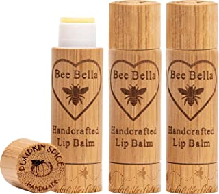 Bee Bella: Pumpkin Spice Lip Balm - 3 Pack - with Beeswax, Coconut Oil, Jojoba Oil, Vitamin E Oil, Argan Oil and More for ...
