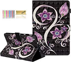 Dteck Galaxy Tab A 8.0 2019 Case - Slim Lightweight 3D Design PU Leather Folio Stand Cover with Card Holder for Samsung Galaxy Tab A with S Pen 8.0 inch 2019 Release (SM-P200 P205), Purple Flower