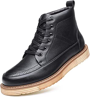 Xujw-shoes store, 2019 Mens New Lace-up Flats Mens Fashion Outdoor Ankle Boots for Men High Top Work Boot Platform Stitching Lace Up Microfiber Leather Breathable Anti-Skid Comfortable Waterproof