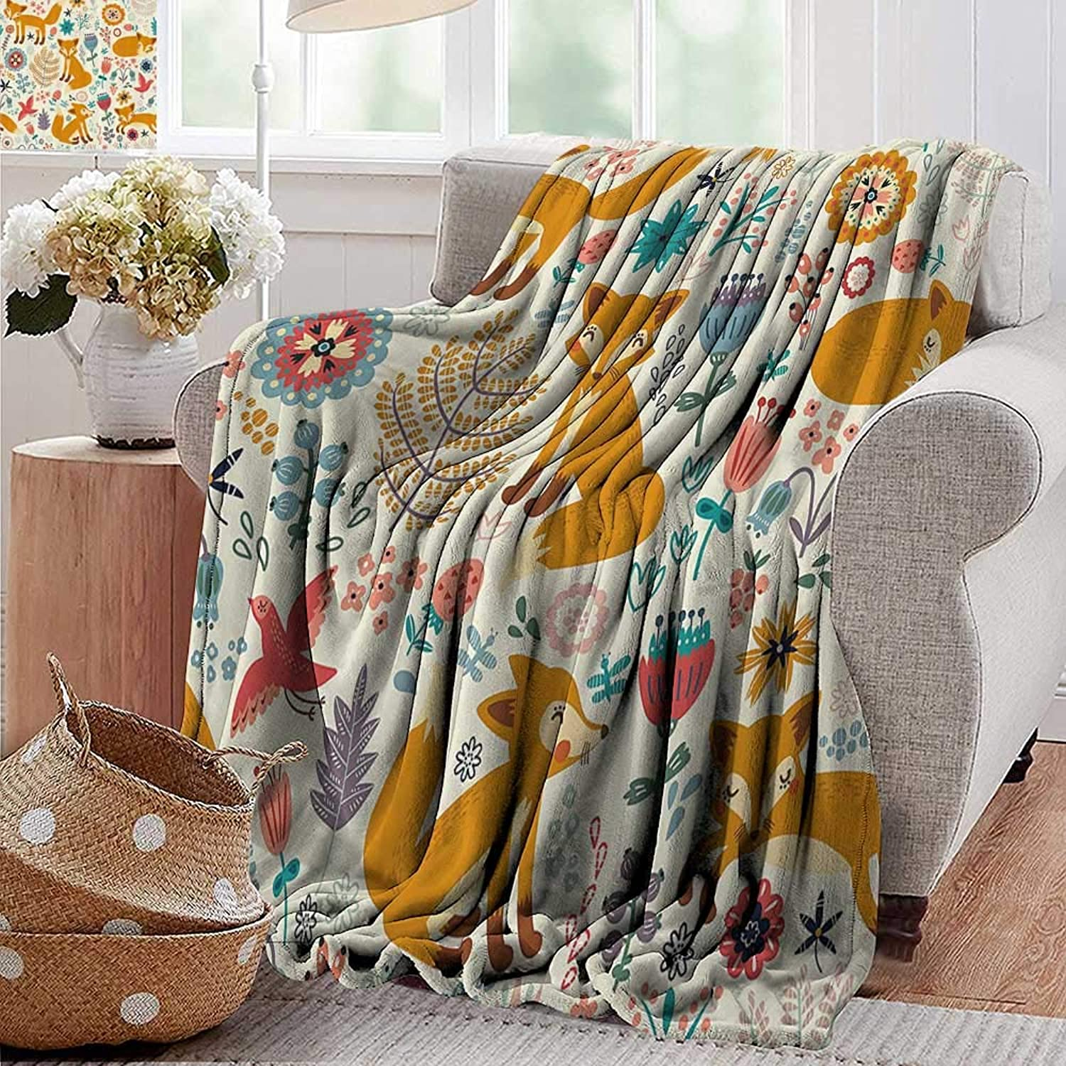 PearlRolan Velvet Touch Ultra Plush,Fox,Natural Wildlife Composition with Cute Foxes Ornate Flowers Flying Birds Kids Nursery,Multicolor,300GSM,Super Soft and Warm,Durable Throw Blanket 50 x60