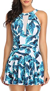 Lovacely Women's One Piece Swimsuit Mesh High V Neck Tummy Control Ruched Skirt Swimwear Floral Plus Size Bathing Suit