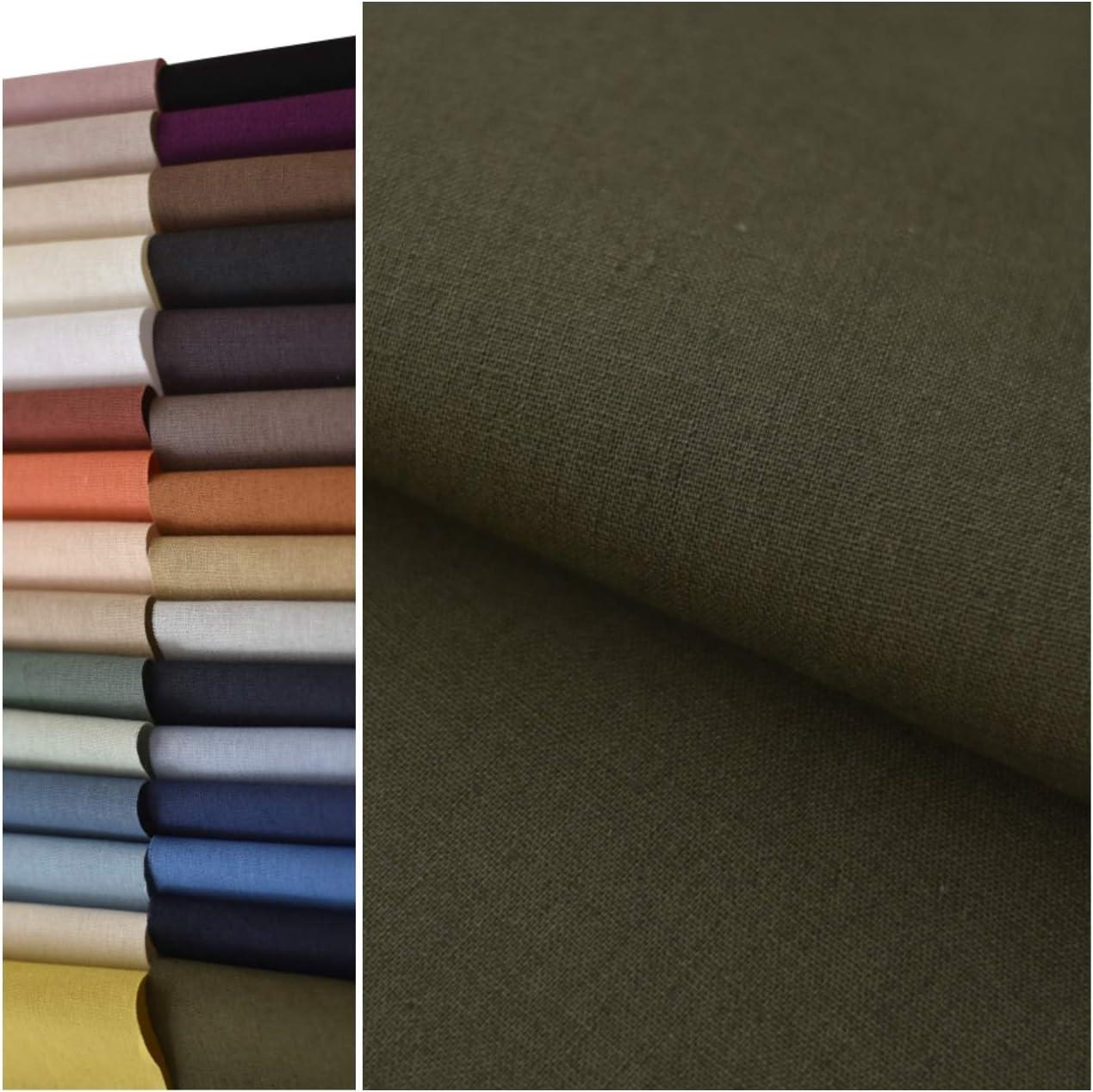 COTTONVILL 11COUNT Linen 大特価 Blend Solid Washing 3yard ストアー Fabric Bio
