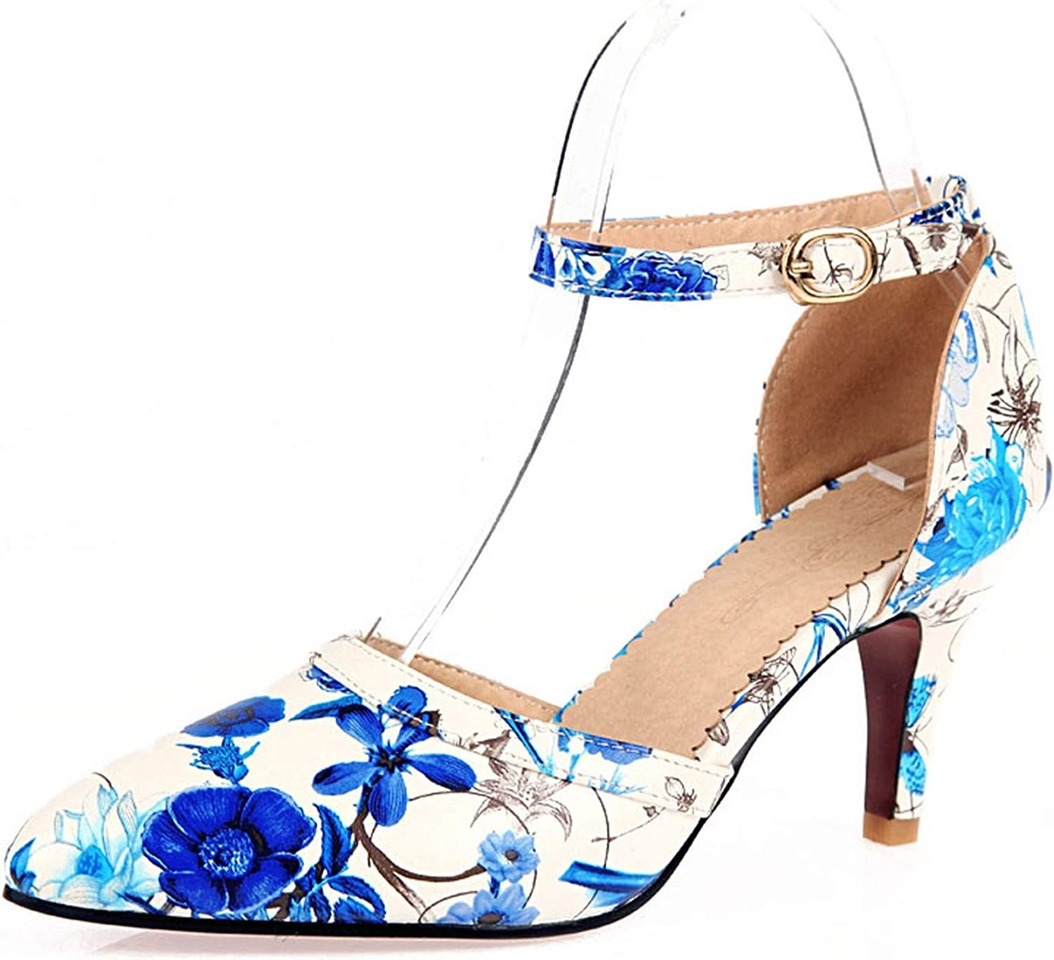 Fairly Sexy High Heel Flower Ankle Strap Thin Heel Elegant Summer shoes,bluee,4