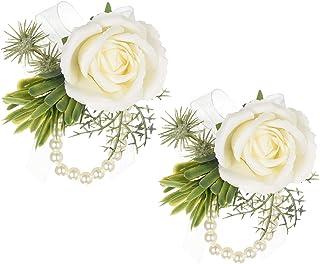 DearHouse 2Pcs Rose Wristband, Girl Bridesmaid Wedding Wrist Corsage Party Prom Hand Flower Decor (2pc Rose Rose Wrist)