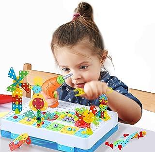 BeebeeRun Mosaique Enfant Puzzle Construction Jouet, Ensembles de Perceuse Électrique Assemblage de Puzzles Créatifs 3D Jo...