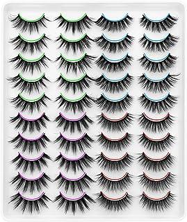 DYSILK 6D Faux Mink Eyelashes 20 Pairs 4 Styles Mixed Eyelashes Fluffy Dramatic Look False Eyelashes Wispy Long Handmade Natural Fake Eyelashes Soft Reusable Makeup Thick Lashes