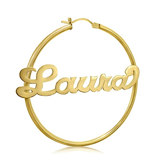 e145d3279 24K Gold over Sterling Silver EXTRA LARGE 3 inch Name Hoop Earrings,  Personalize it with
