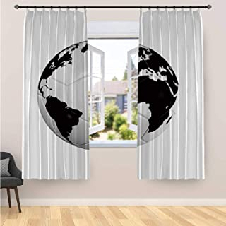 Sports Decor Stylish Curtain 2 Panels,Soccer Ball with World Map Football Cup 2010 Entertaining Professional Game for Home Office,70''W x 98''H
