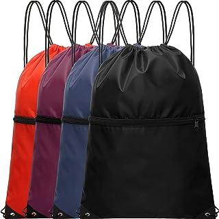 4 قطع أربطة حقائب ظهر رياضية حقيبة الصالة الرياضية حقيبة الظهر مع سحاب الرياضة حقيبة الظهر مقاومة للماء للرجال والنساء
