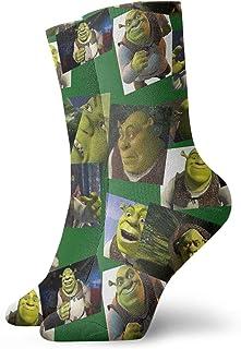 Hangdachang, Calcetines de tobillo para Navidad, Acción de Gracias Shrek Collage Atlético de 30 cm Calcetines de tobillo de deporte Casual Calcetines de algodón de la tripulación