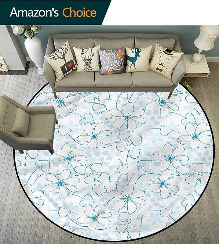 RUGSMAT Blue Modern Machine Washable Round Bath Mat Abstract Flowers Hearts Home Decor Foor Carpet Diameter 71