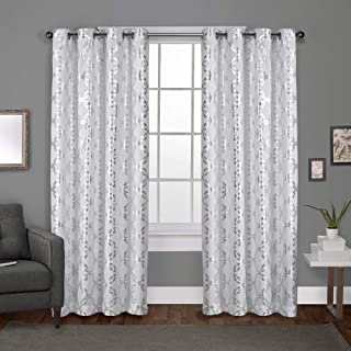 Exclusive Home Curtains Modo Metallic Geometric Window Curtain Panel Pair with Grommet Top, 54x84, Winter White, 2 Count