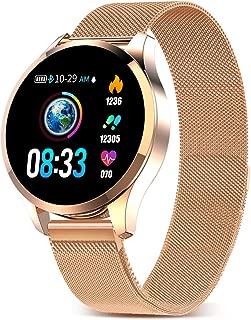 Smartwatch Mujer Hombre Impermeable Reloj Inteligente Monitores de Actividad Impermeable IP67 con Monitor de Sueño Pulsómetros Cuenta de Pasos Contador de Caloría Compatible con iOS Android (Gold ?)