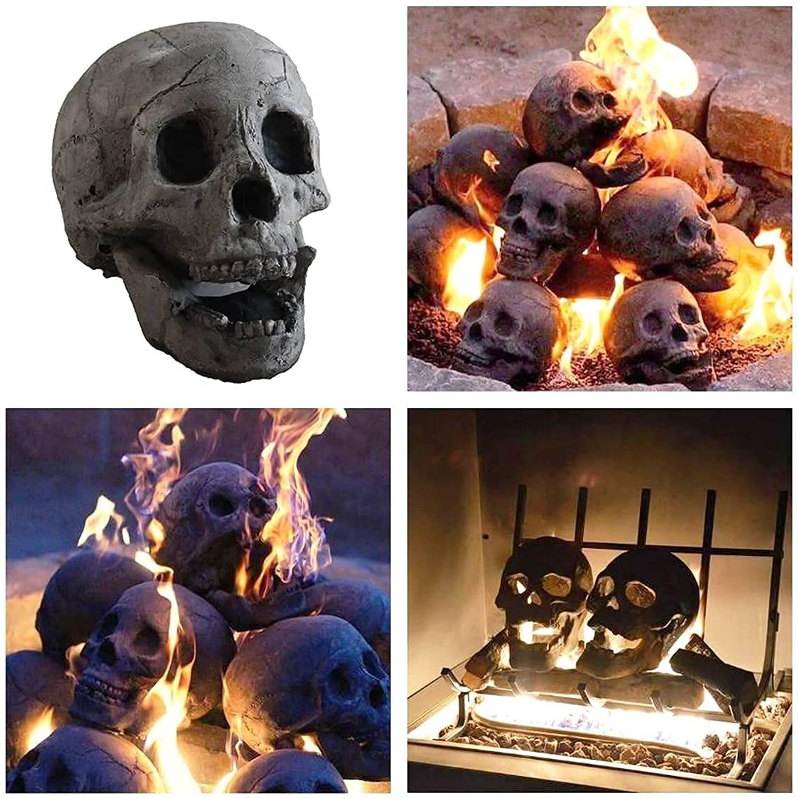 Ceramic Imitation Outlet sale feature Human Kansas City Mall Skull Fire Fireproof Reusable Log