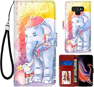 DISNEY COLLECTION Wallet Case for Samsung Note 9 Dumbo and Mom Pattern Design Magnetic Closure [Stand Feature] Folio Flip Cover with Card Holder and Wrist Strap Protective Cover