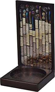 Springdale Peacock Lane Mosaic Art Glass Candle Holder, Amber/Gold