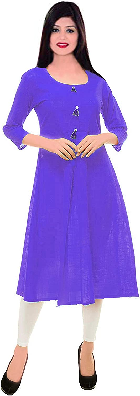 Lakkar Haveli Indian Women's Dress Cotton Tunic Ethnic Wedding Wear Frock Suit Purple Color Kurti