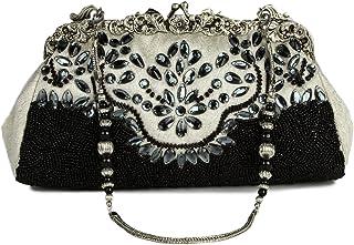 MyBatua Glamorous Riley White & Black Formal Silber plattiert Abend-Handtasche ACP-505