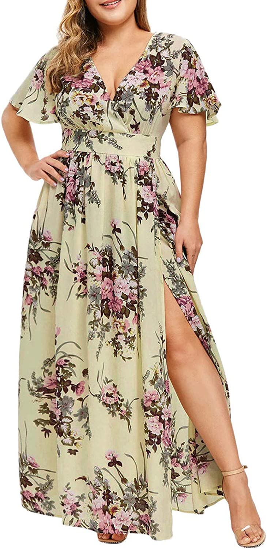 EOPUING Women Plus Size Maxi Dress, Slit Butterfly Printed V-Neck Short Sleeve Casual Slim Long Dress