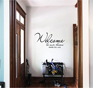 Personalized Family Name Est. Date Welcome to Our Home Wall Decals Quotes