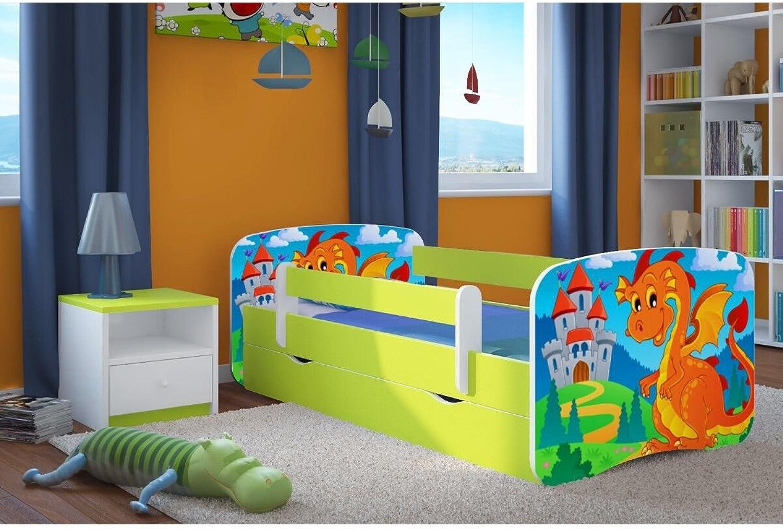 CARELLIA 'Kinderbett Dragon & Chateau 80x 180cm mit Barriere Sicherheitsschuhe + Lattenrost + Schubladen + Matratze Offert.–Limettengrün
