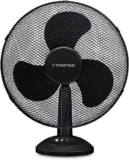 TROTEC Ventilador de Mesa TVE 18 / 50 W / Negro / Oscilación Automática de 80° / Sobremesa / 3 Velocidades de Ventilación / Base de Apoyo Estable y Antideslizante / Asa de Transporte integrado
