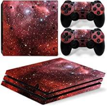 Chickwin PS4 Pro Vinyl Skin Full Body Cover Sticker Decal For Sony Playstation 4 Pro Console and 2 Dualshock Controller Skins (Sky Red)