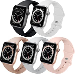 Bands Compatible with Apple Watch 38mm 40mm 42mm 44mm, 5 Pack Replacement Soft Silicone Sport Strap for iWatch SE Series 6/5/4/3/2/1, Black/White/Milk Tea/Gray/Pink Sand 38mm/40mm S/M
