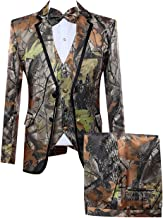 HBDesign Mens 3 Piece 2 Button Flat Collar Camouflage Suits