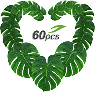 Gooidea 60pcs Tropical Palm Leaves丨Artificial Monstera Leaves丨Tropical Leaf Placemats丨Hawaiian Luau Party Wedding Decorations丨Table Centerpieces Wall Décor