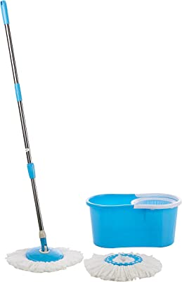 """A TO Z SALES """"Easy Magic Floor Mop 360° Bucket 2 Heads Microfiber Spin Spinning Rotating Head (Color May Vary)"""""""
